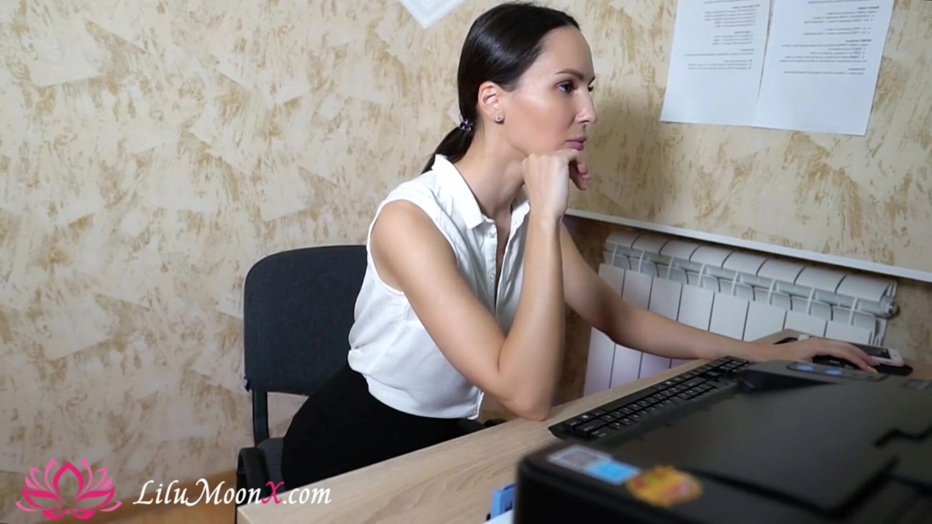 Office Secretary Fingering Wet Pussy after Long Day - Lilu Moon