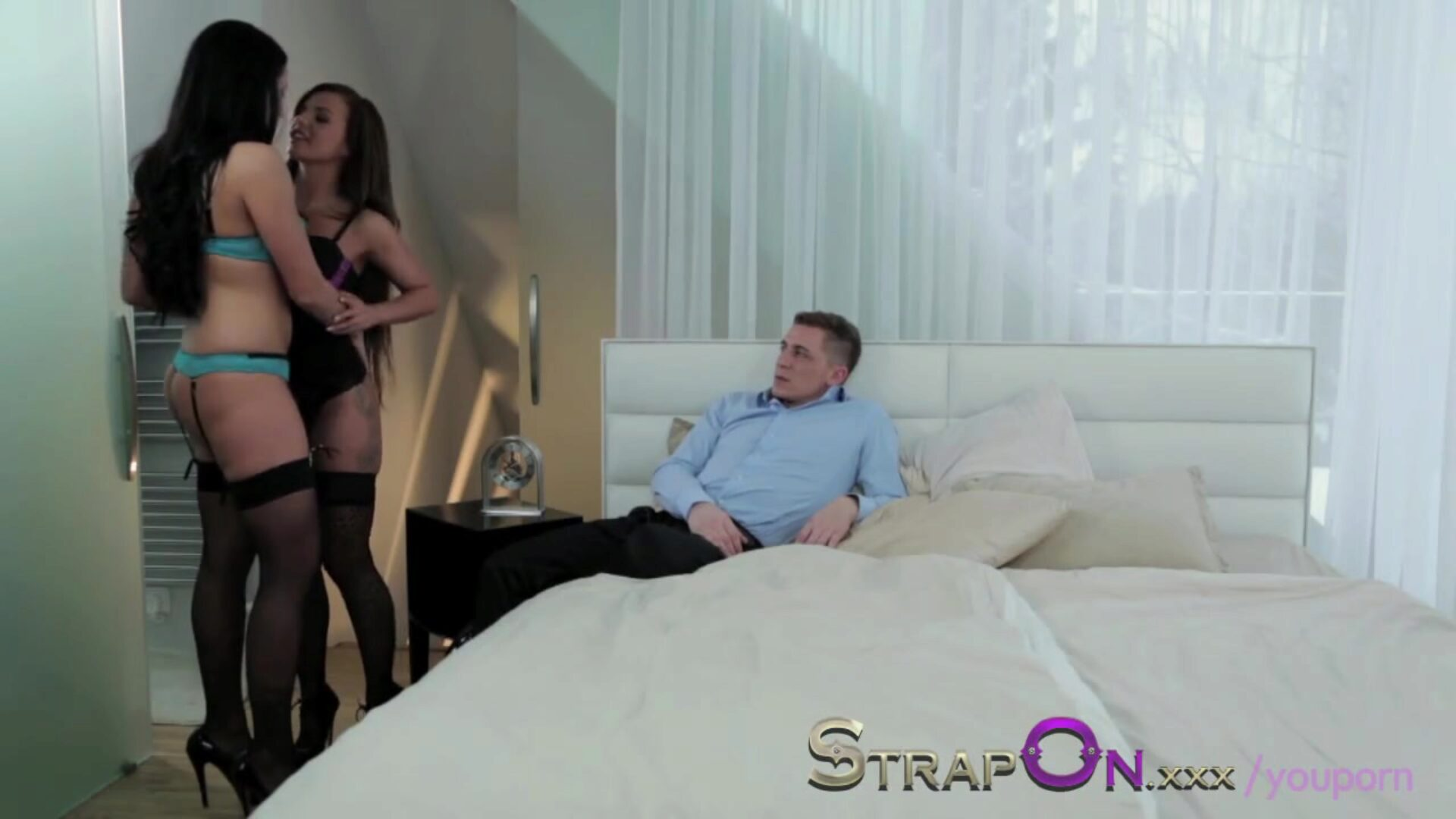 StrapOn She gets one as well as the other fuck holes fucked by chap and bisex gal StrapOn She receives one as well as the other slots banged by boy and bi-sexual girl