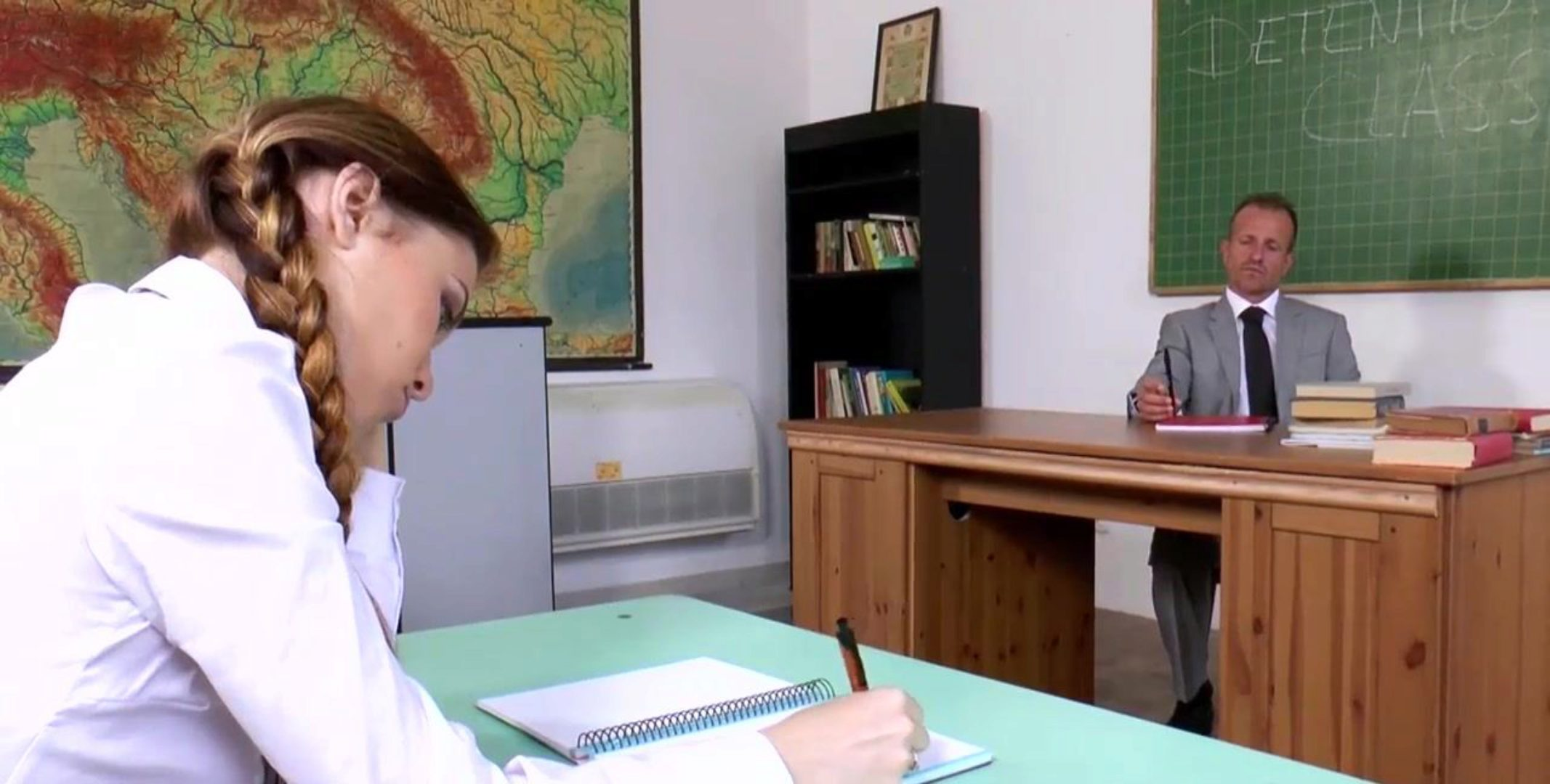 Oversexed Schoolgirl Misha Cross seduces tutor in detention classroom brief version)