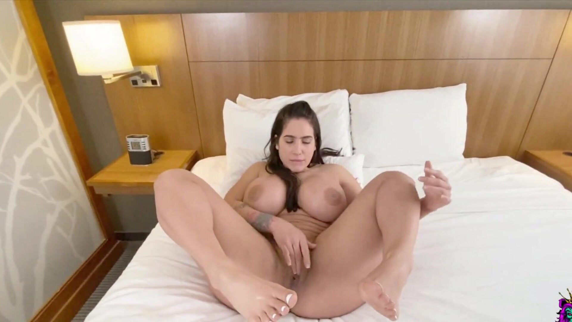 Big Tits mother I'd like to fuck Licks her own Feet when this babe Feels a Dick inwards her Pussy